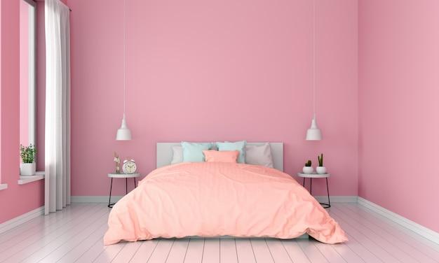 モックアップ、夏の色の概念のためのピンクの寝室のインテリア
