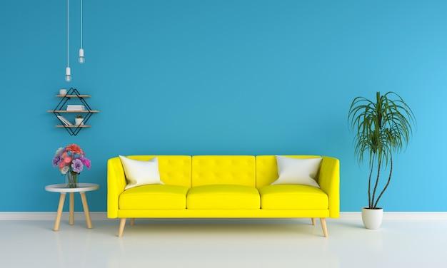 モックアップのための青いリビングルームで黄色のソファー