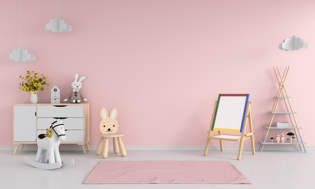 図面ボードとピンクの子供部屋のインテリアの椅子