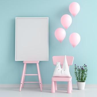 ピンクの椅子に空のフォトフレーム