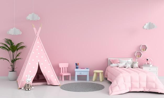 モックアップのピンクの子供部屋のインテリア