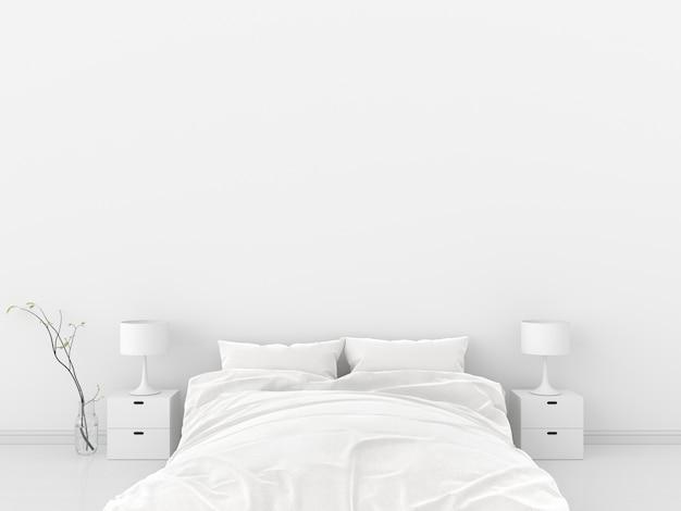 Белый интерьер спальни для макета