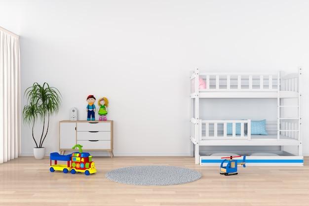 Белый интерьер детской комнаты для макета