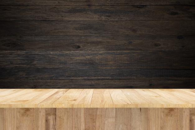 展示品とヴィンテージウォールのための木製テーブル