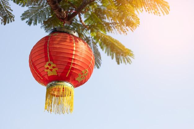 中国の新年祭の装飾のための木と太陽の光に掛かっている赤いランプのシンボル