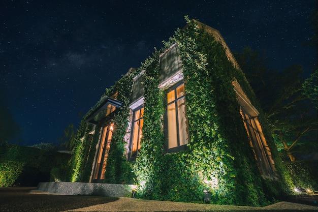 Красивое звездное небо и английское здание в стиле кантри, покрытое зелеными вьющимися растениями