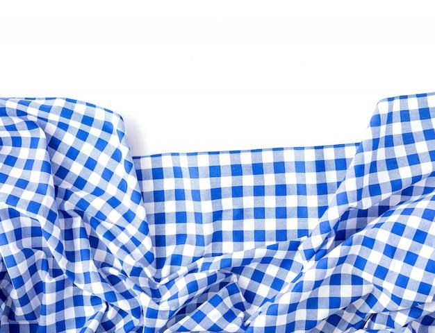 白地にブルーのテーブルクロスの質感