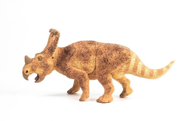 白い背景の上のバガケラトプストリケラトプス恐竜