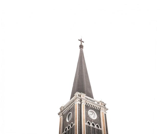 教会の写真と古代の美しい十字架のシンボル。