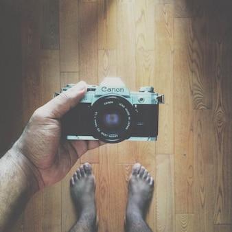 ヴィンテージキヤノンカメラ自分撮り