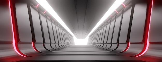 照らされた廊下の抽象的なトンネル。