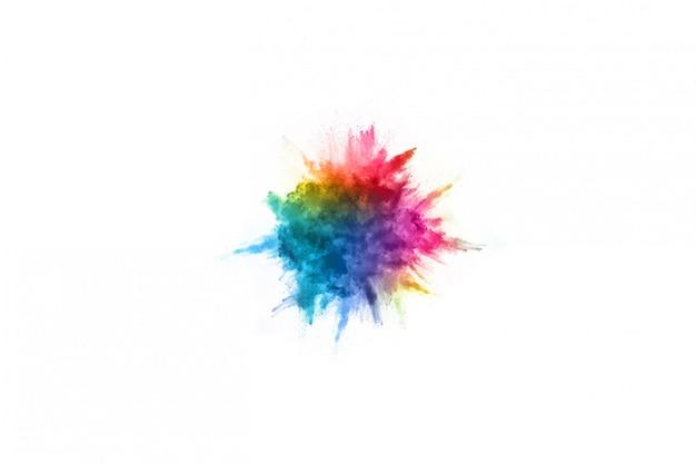 抽象的なパウダースプラッタ背景。白地にカラフルな粉体爆発。