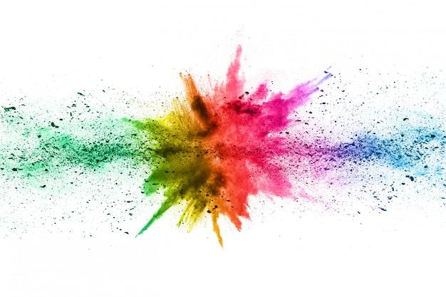 Абстрактный порошок забрызгали фон. красочный взрыв порошка на белой предпосылке.