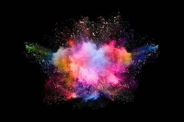 黒い背景に抽象的な色粉塵爆発