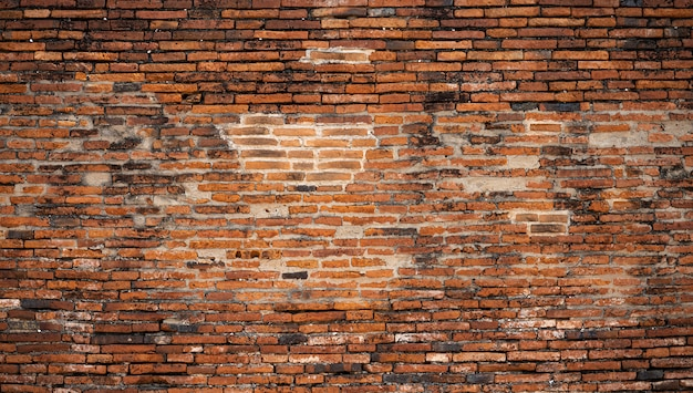 タイの寺院のタイの古いレンガ壁表面の詳細
