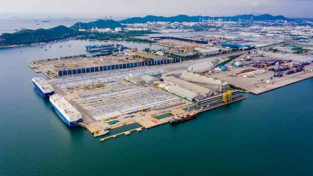 ステーション荷降ろし配送貨物コンテナ事業輸入輸出車と製品