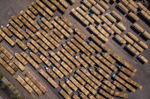 製糖工場業界での砂糖の輸出入を待っているサトウキビトラック
