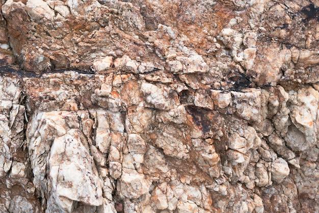 崖の石の表面が侵食された水に当たる