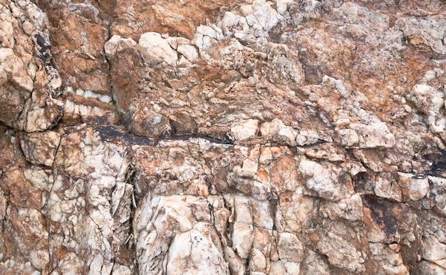 崖の石の表面が浸食された水に当たる