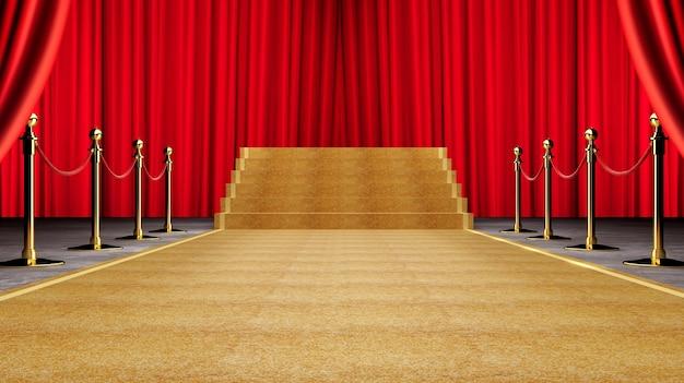 黄金のイベントカーペット、階段とゴールドロープのバリアー成功と勝利のコンセプト