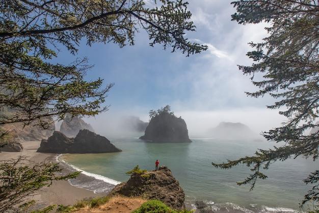 オレゴン州シークレットビーチに立っている旅行者