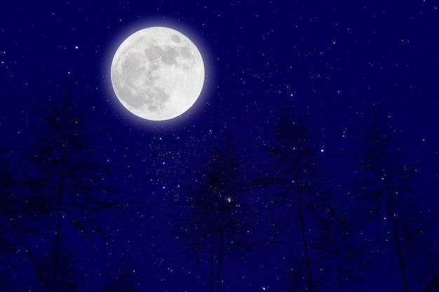 星空の背景を持つ月