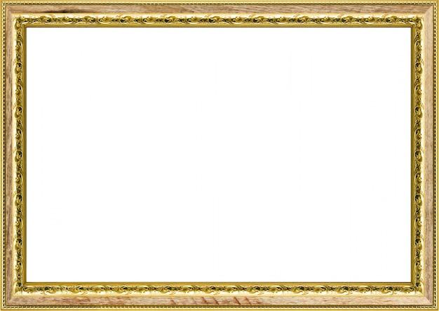 白で隔離される古典的なビンテージ金色の額縁