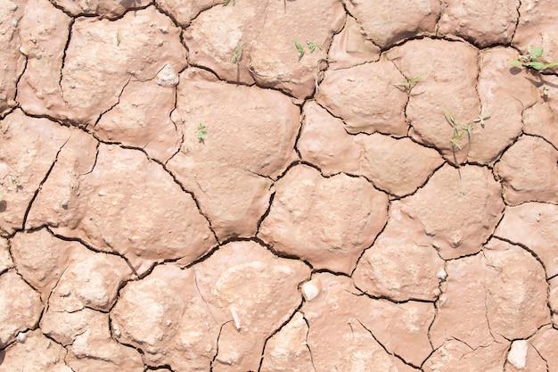 干ばつ時の乾燥した割れた土の土または土のテクスチャ。