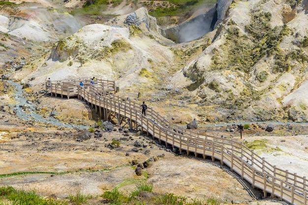 夏の地獄谷。支笏洞爺国立公園、北海道のぼりべつ