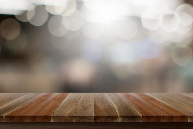 白の壊れたビューと空の上の木のテーブル木の床茶色色テクスチャ