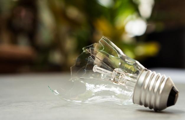 自然の背景に壊れた電球、環境問題を解決するためのエネルギーソリューション