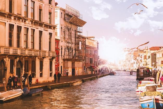 太陽と飛ぶ鳥とヴェネツィアの運河