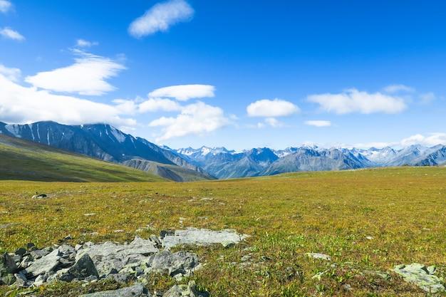 山の尾根と牧草地の美しい景色。