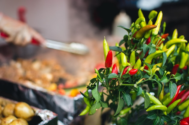 Красочный перец чили на уличном рынке