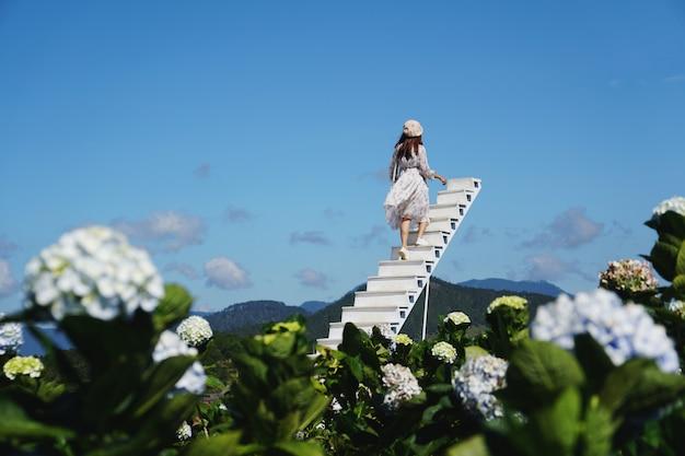 Путешественник молодой женщины наслаждаясь с зацветая гортензиями в далате, вьетнаме, концепции образа жизни перемещения