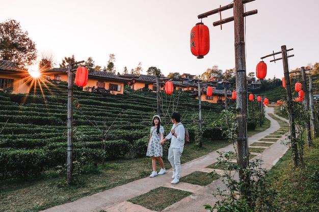 リーワインラックタイ、中国人入植地、メーホンソン、タイでのアジアカップル旅行