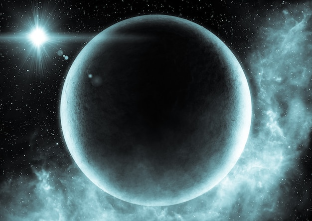 宇宙空間の宇宙シーンの抽象的な科学的背景