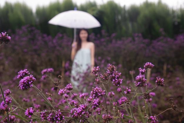 Расплывчатая молодая женщина в цветочном саде вербены.