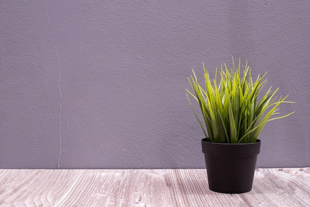 Ваза флористическая на деревянной таблице с космосом экземпляра.