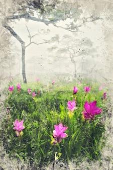 サイアムチューリップ畑。写真家によるデジタルアートインパスト油絵