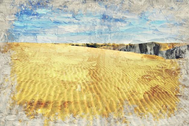砂漠の砂丘、インド。写真家によるデジタルアートインパスト油絵