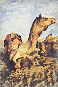 ラクダ砂漠の砂丘、インド。写真家によるデジタルアートインパスト油絵