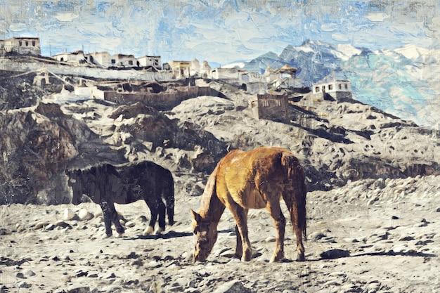 インド、レーの馬。写真家によるデジタルアートインパスト油絵