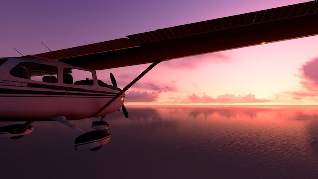 Самолет над океаном.