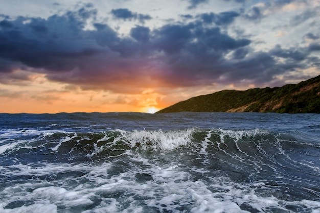 海には強風があります