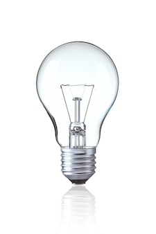 Включить вольфрам лампочка, изолированных на белом
