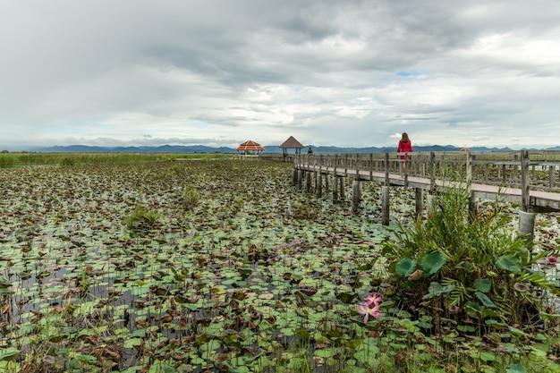 プラチュワップキーリーカン県カオサムロイヨッド国立公園のロータス湖の風景タイ。