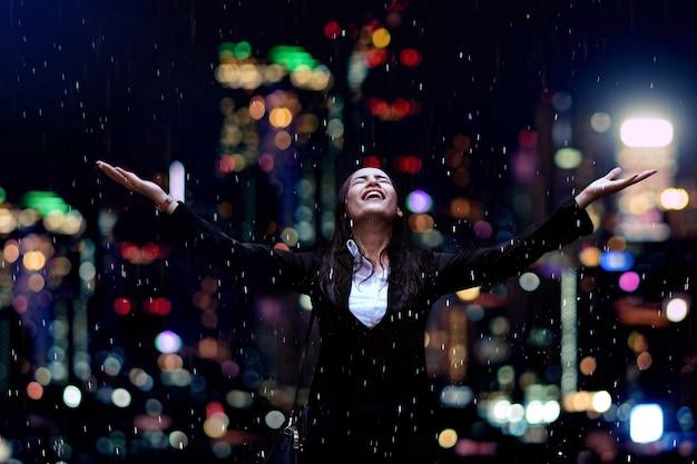 雨の下で実業家