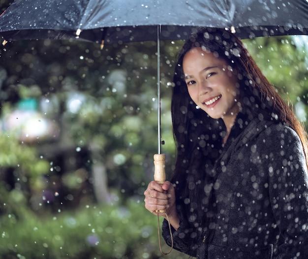 Азиатские женщины используют зонтики, падает дождь