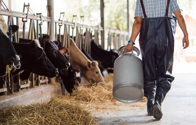 アジアの農家は彼の農場で牛乳の容器を保持しています。農場から出て行く
